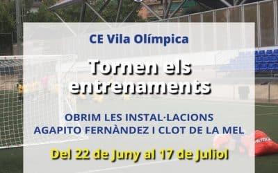 Obrim les instal·lacions Agapito Fernàndez i Clot de la Mel per reprende els entrenaments de futbol i bàsquet